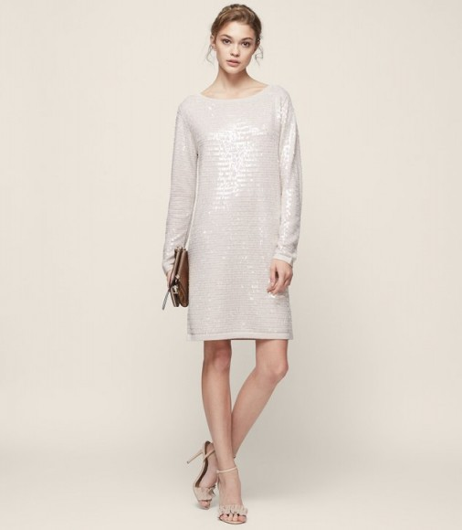 d0c17482c7 REISS KAYLA KNITTED SEQUIN DRESS NEUTRAL   long sleeved sequined shift  dresses   instant party glamour