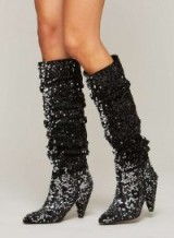 Miss Selfridge KAZZIE Sequin Rouched Boot – slouchy sequinned boots