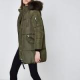 River Island Khaki green faux fur longline puffer jacket – green winter coats