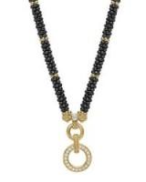 Lagos Circle Game Black Caviar Rope Necklace with Diamonds