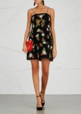 ALICE + OLIVIA Launa floral-embroidered velvet dress