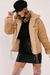 IN THE STYLE LAYNIE TAN FAUX SUEDE SHEARLING LINED JACKET ~ light brown winter jackets