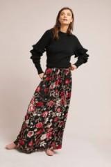 Isla Maude Leana Floral Burnout Maxi Skirt | long velvet skirts
