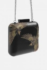 Topshop Leather Bird Boxy Clutch | embellished bags
