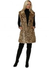 FRENCH BOUTIQUE Leopard Print Premium Faux Fur Long Gilet ~ animal print gilets ~ sleeveless jackets
