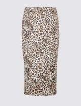 PER UNA New Leopard Print Satin Pencil Midi Skirt / straight animal print skirts / Marks and Spencer fashion