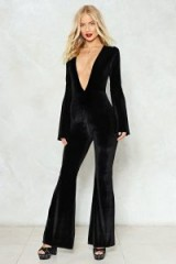 NASTY GAL Let Your Guard Down Velvet Jumpsuit – black flared plunge front jumpsuits – party fashion – going out