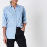 River Island Light blue denim faux pearl embellished shirt | casual luxe shirts