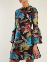MARY KATRANTZOU Ligretto feather-jacquard mini dress ~ bell sleeved dresses