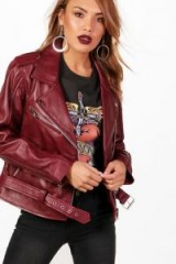 boohoo Lily Leather Biker Jacket – burgundy jackets