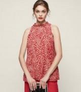 REISS LINNEA BURNOUT-DETAIL HALTERNECK TOP MARASCHINO ~ red animal print evening tops