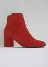 MINT VELVET LIVVY RED SUEDE BOOT / block heel ankle boots