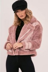 IN THE STYLE LIZANN PINK FAUX FUR LINED AVIATOR JACKET