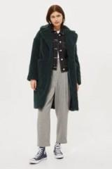 TOPSHOP Longline Borg Coat – dark green winter coats