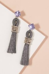 ANTHROPOLOGIE Lorne Jewelled Tassel Earrings / tasseled party accessories / statement evening jewellery
