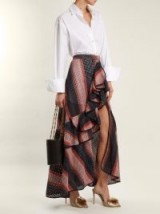 JOHANNA ORTIZ Los Alamos striped ruffle-trimmed cotton skirt ~ long ruffled skirts