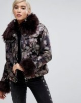 Lost Ink Jacket In Metallic Brocade With Faux Fur Trim ~ luxe winter jackets