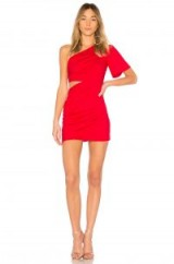 Lovers + Friends PAIGE DRESS | red one shoulder party dresses | side cutout | ruched