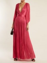 MARIA LUCIA HOHAN Lur deep V-neck silk-tulle gown ~ hot pink metallic gowns ~ party luxe