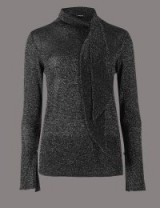 M&S AUTOGRAPH Lurex Tie Neck Jumper / sparkly jumpers / Marks and Spencer knitwear