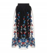 Maje Tulle Floral Embroidered Midi Skirt | sheer overlay skirts