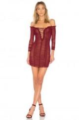 MAJORELLE DARLING DRESS | merlot-red off the shoulder party dresses | ruched bardot