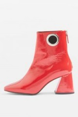Topshop MALONE Ankle Boots – shiny red leather – chunky angled heel – retro