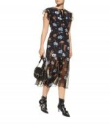 Markus Lupfer Belle Black Floral Midi Dress ~ sheer hem dresses