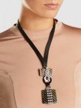 MARNI‎ Horn And Crystal-Embellished Leather Necklace ~ statement necklaces ~ contemporary jewellery