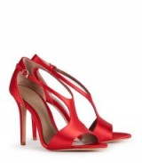 REISS MAXINE SATIN SATIN OPEN-TOE SANDALS GERANIUM ~ silky red high heels ~ party shoes