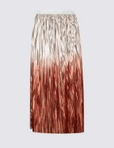 M&S COLLECTION Metallic Dip Dye Pleated A-Line Midi Skirt | shiny ombre midi skirts