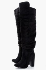 boohoo Millie Slouchy Block Heel Over the Knee – long black slouch boots