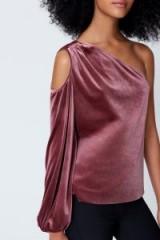 REBECCA MINKOFF MINKA TOP | mauve velvet cold/one shoulder tops | evening luxe