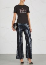FREE PEOPLE Minx flared sequinned trousers ~ navy-blue sparkly flares