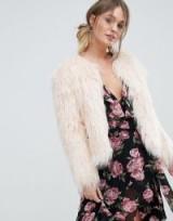 Miss Selfridge Nude Mongolian Faux Fur Coat | fluffy pale pink coats