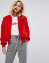 Miss Selfridge Teddy Fur Bomber Jacket | casual red winter jackets