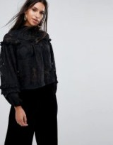 Missguided High Neck Embroidered Top | romantic ruffle tops | black frill blouses