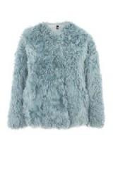 TOPSHOP Mongolian Cropped Faux Fur Coat – pale blue winter coats