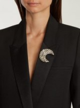 SAINT LAURENT Moon crystal-embellished brooch – big beautiful brooches – celestial jewellery