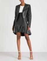 MORV Sienna flared-hem leather skirt | ruffled hemline skirts