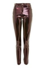 Topshop MOTO Berry Glitter Vinyl Jamie Jeans ~ shiny skinny trousers
