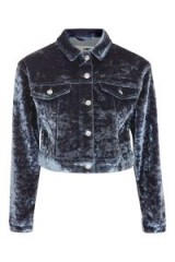 Topshop MOTO Bonded Velvet Denim Jacket