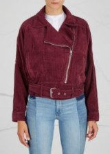 FREE PEOPLE Moto burgundy corduroy jacket – red cord biker jackets