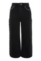 Topshop MOTO Washed Black Pierced Cropped Wide Leg Jeans