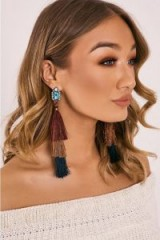 IN THE STYLE MULTICOLOURED LAYERED TASSEL GEM EARRINGS ~ party jewellery ~ statement ~ evening accessories