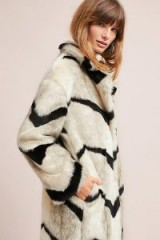 ANTHROPOLOGIE Myria Printed Faux Fur Coat ~ luxe style winter coats