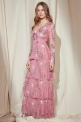 Nasty Gal Studio Billie Embellished Maxi Dress – rose pink occasion dresses – long tiered evening dresses