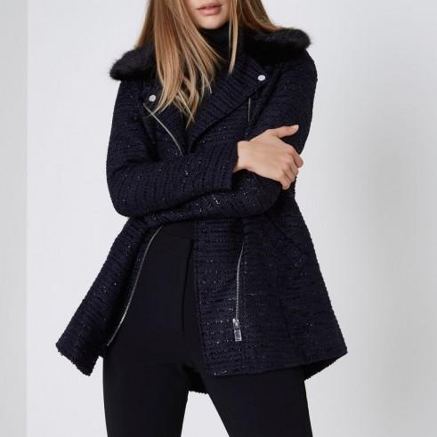 River Island Navy lurex faux fur collar coat – blue winter coats
