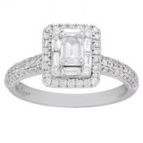 Neil Lane 14ct White Gold 0.98ct Diamond Emerald Cut Ring