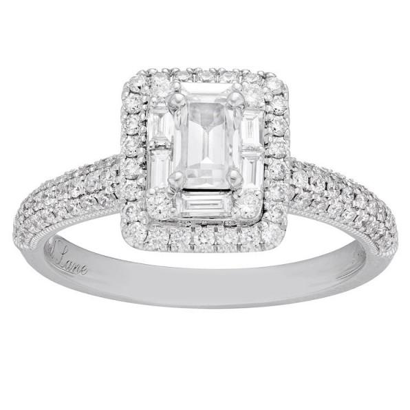 Neil Lane 14ct White Gold 0.98ct Diamond Emerald Cut Ring